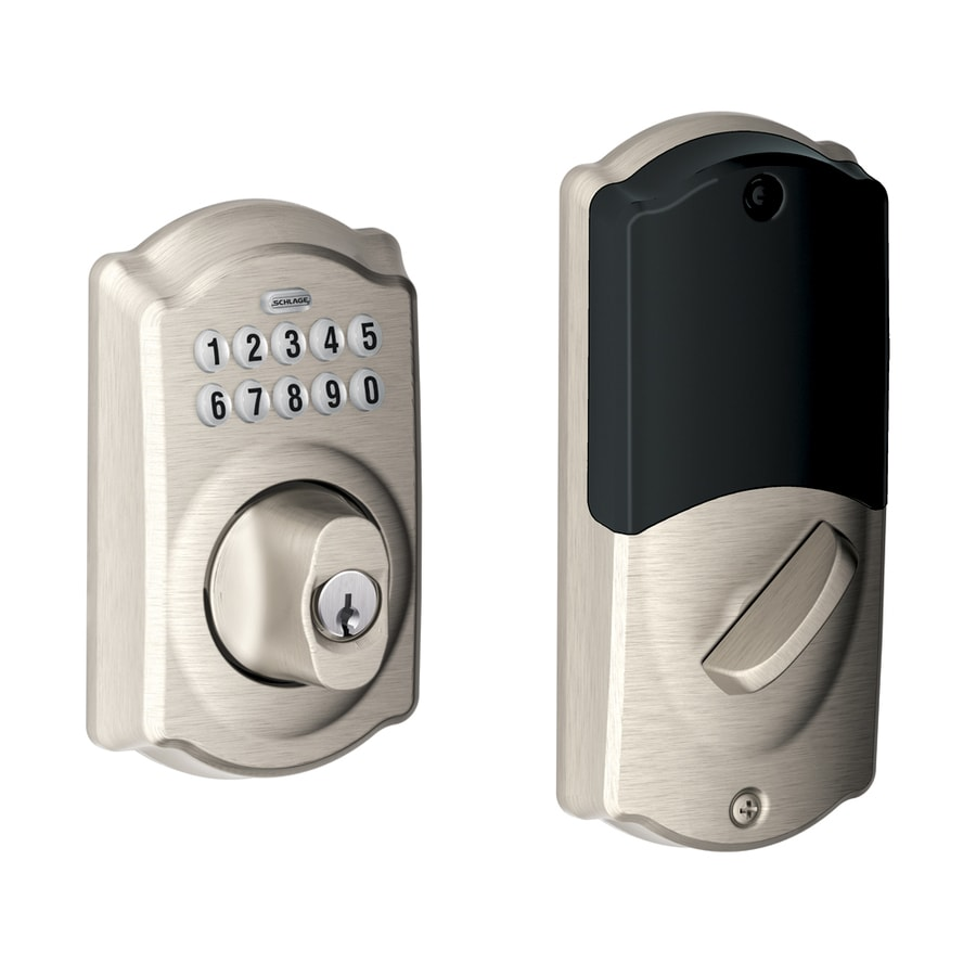 Schlage Satin Nickel 6-Cylinder Electronic Entry Door Deadbolt with Keypad