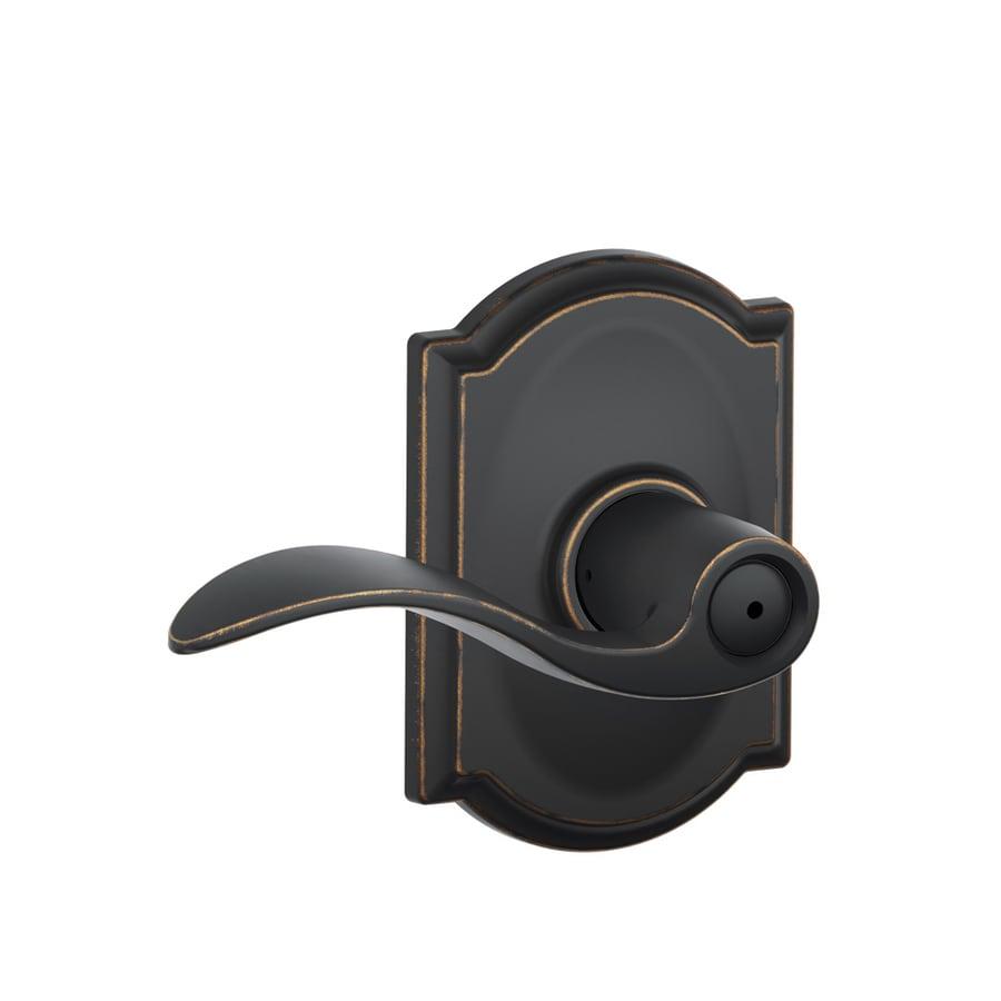 Schlage Accent Aged BronzePush-Button Lock Privacy Door Lever