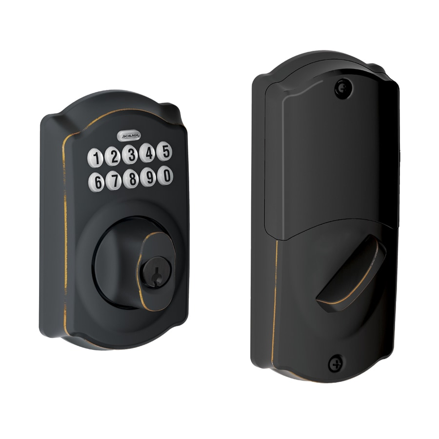Schlage Camelot Aged Bronze Single-Cylinder Electronic Entry Door Deadbolt with Keypad