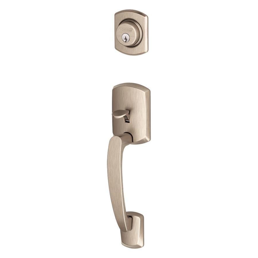 Schlage Greenwich Adjustable Satin Nickel Entry Door Exterior Handle