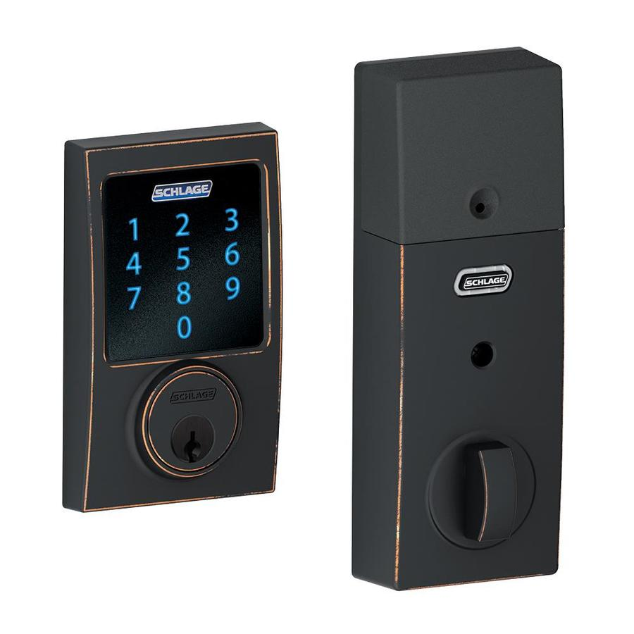 Schlage Connect Century Aged Bronze Single-Cylinder Motorized Touchscreen Electronic Entry Door Deadbolt with Keypad
