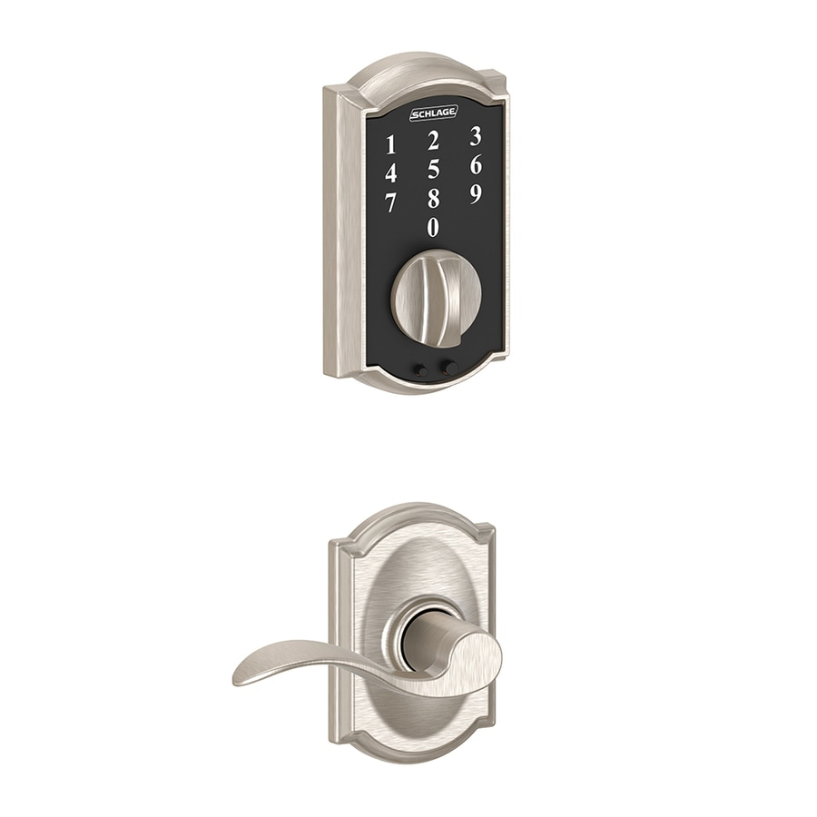 Schlage Touch Camelot Satin Nickel Touchscreen Electronic Entry Door Deadbolt with Keypad