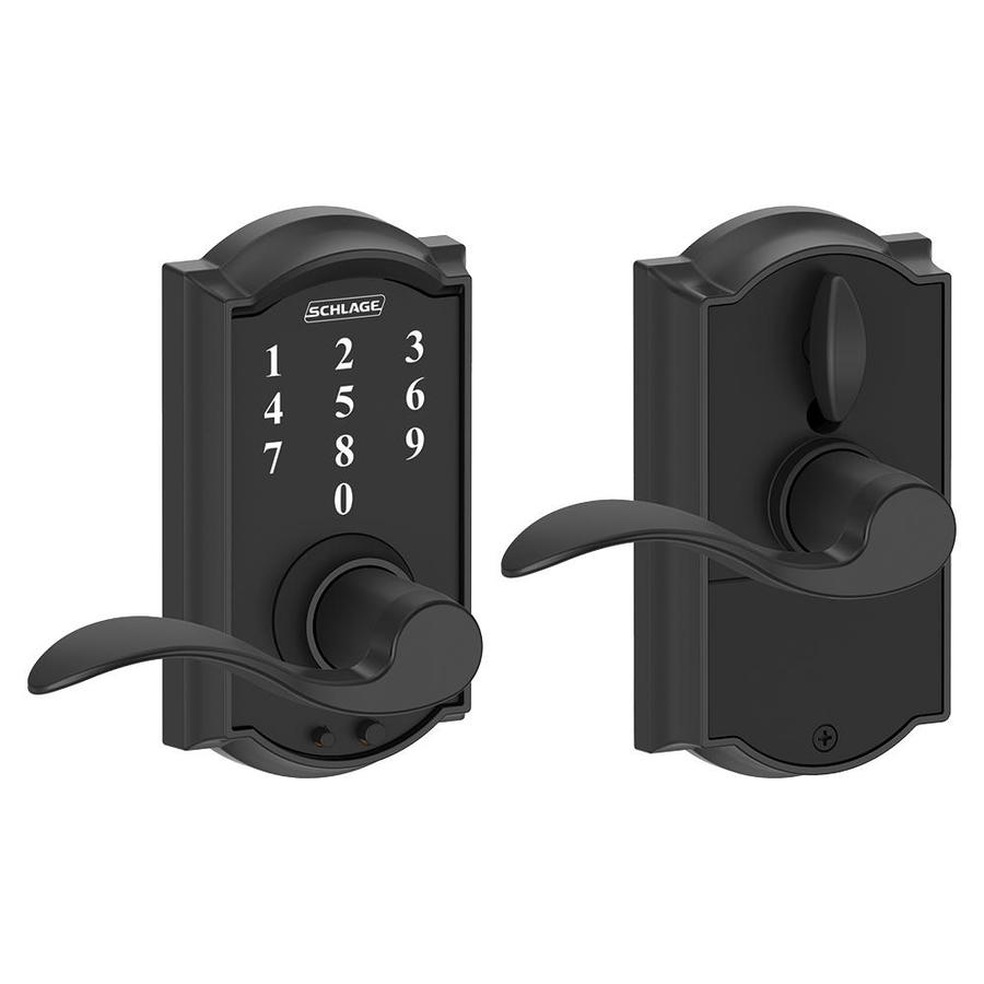 Schlage Touch Camelot Matte Black Electronic Entry Door Lever