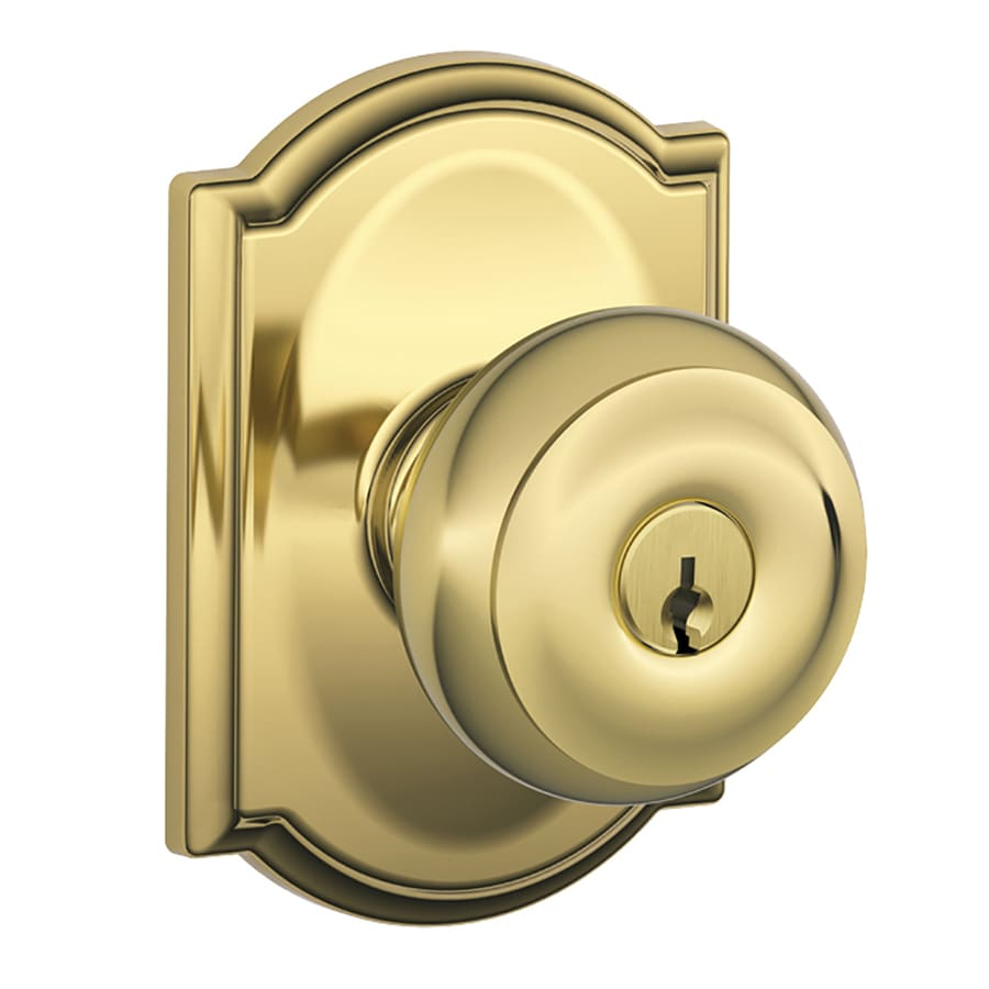 Schlage F Decorative Camelot Collections Georgian Traditional Bright Brass Round Keyed Entry Door Knob