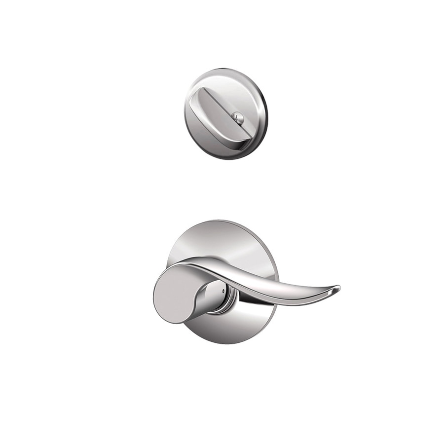 Schlage Sacramento 1-5/8-in to 1-3/4-in Bright Chrome Single Cylinder Lever Entry Door Interior Handle