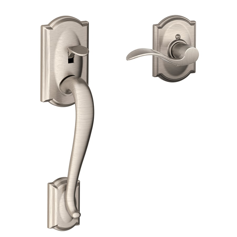 Shop Schlage Camelot Satin Nickel Entry Door Exterior Handle at ...
