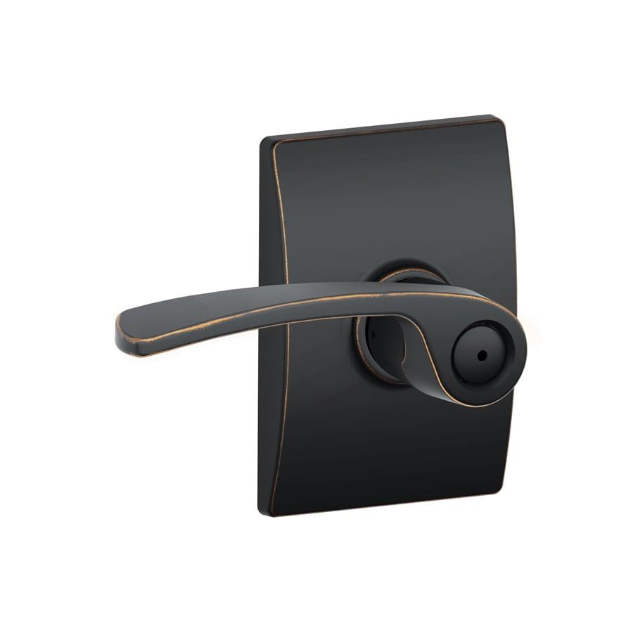 Schlage F Decorative Century Collections Merano Aged BronzePush-Button Lock Privacy Door Lever
