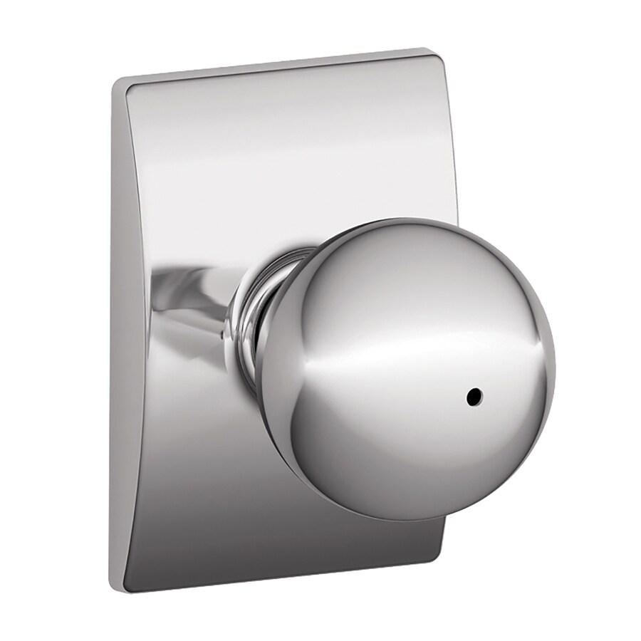 Schlage F Decorative Century Collections Orbit Polished Chrome Round Push-Button Lock Privacy Door Knob