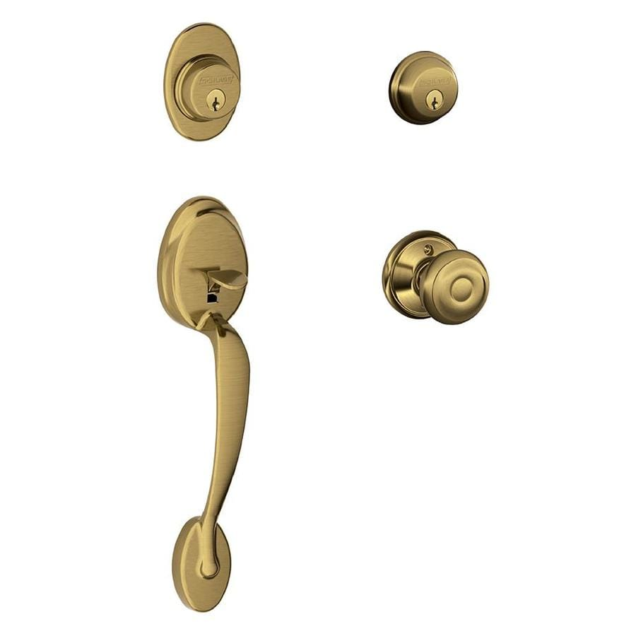 Shop Schlage F Plymouth X Georgian Knob Antique Brass Dual