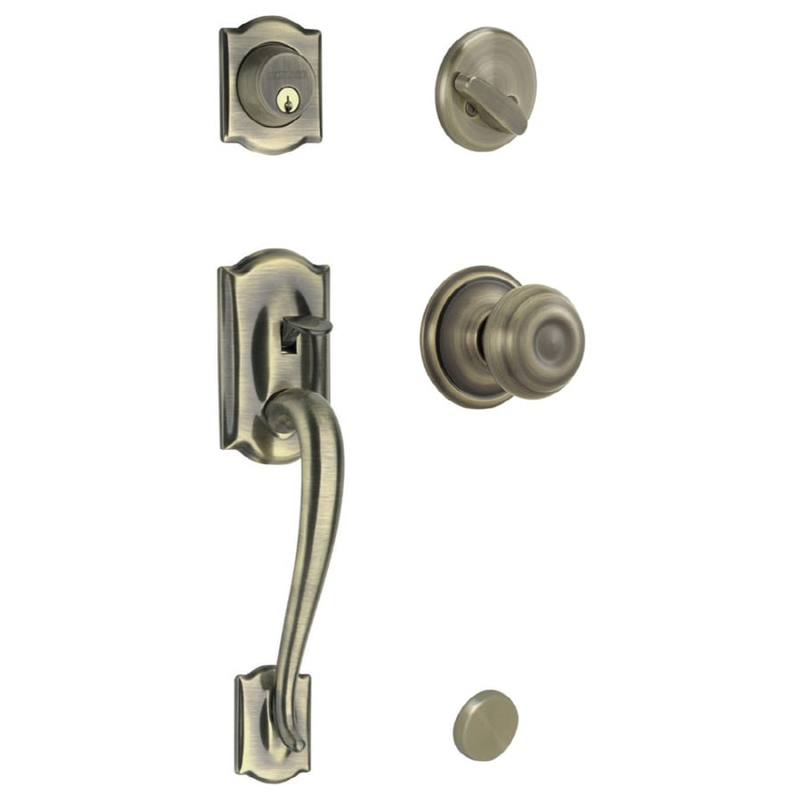 Shop Schlage Camelot Antique Brass Single Lock Keyed Entry Door Handleset At