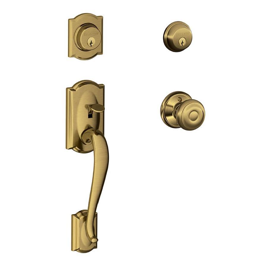Schlage F Camelot x Georgian Knob Antique Brass Dual-Lock Keyed Entry Door Handleset