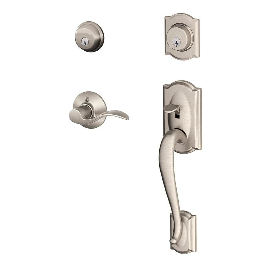Schlage F Camelot x Accent Lever Satin Nickel Dual-Lock Keyed Entry Door Handleset