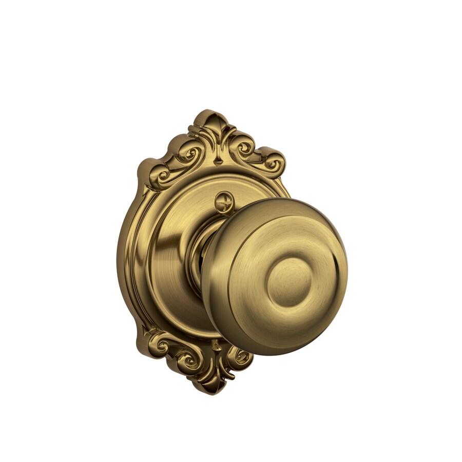 Schlage Decorative Brookshire Collections Georgian Antique Brass Round Passage Door Knob