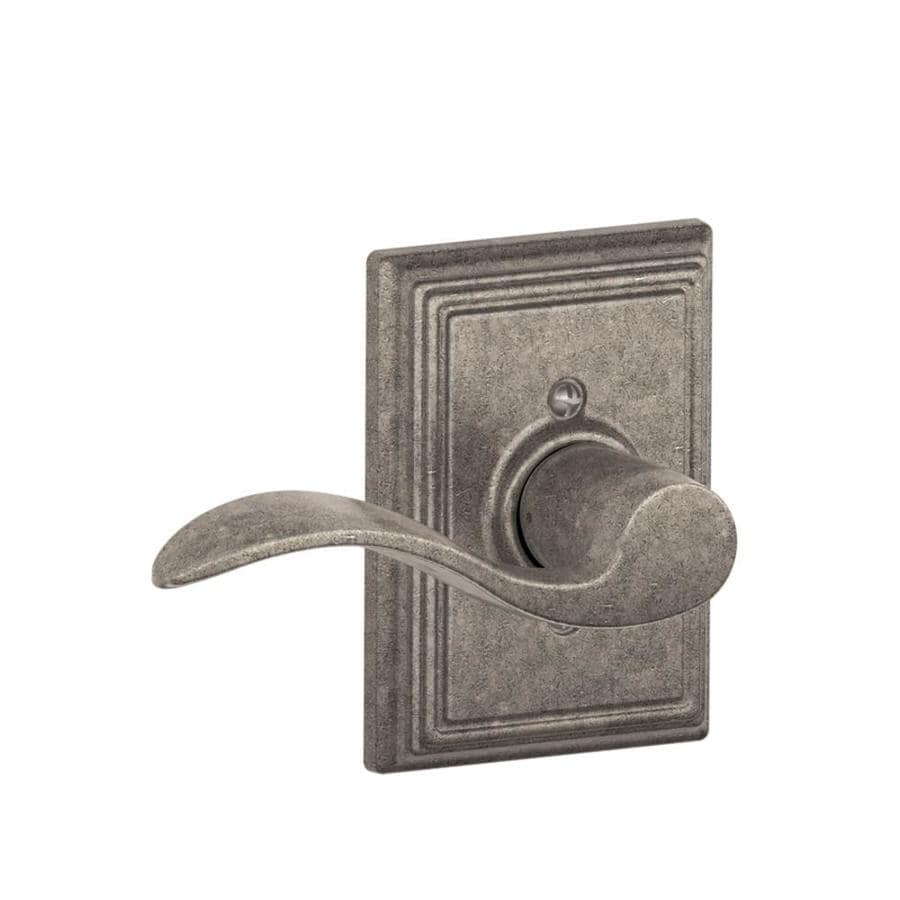 Schlage F Decorative Addison Collections Accent Distressed Nickel Left-Handed Dummy Door Lever