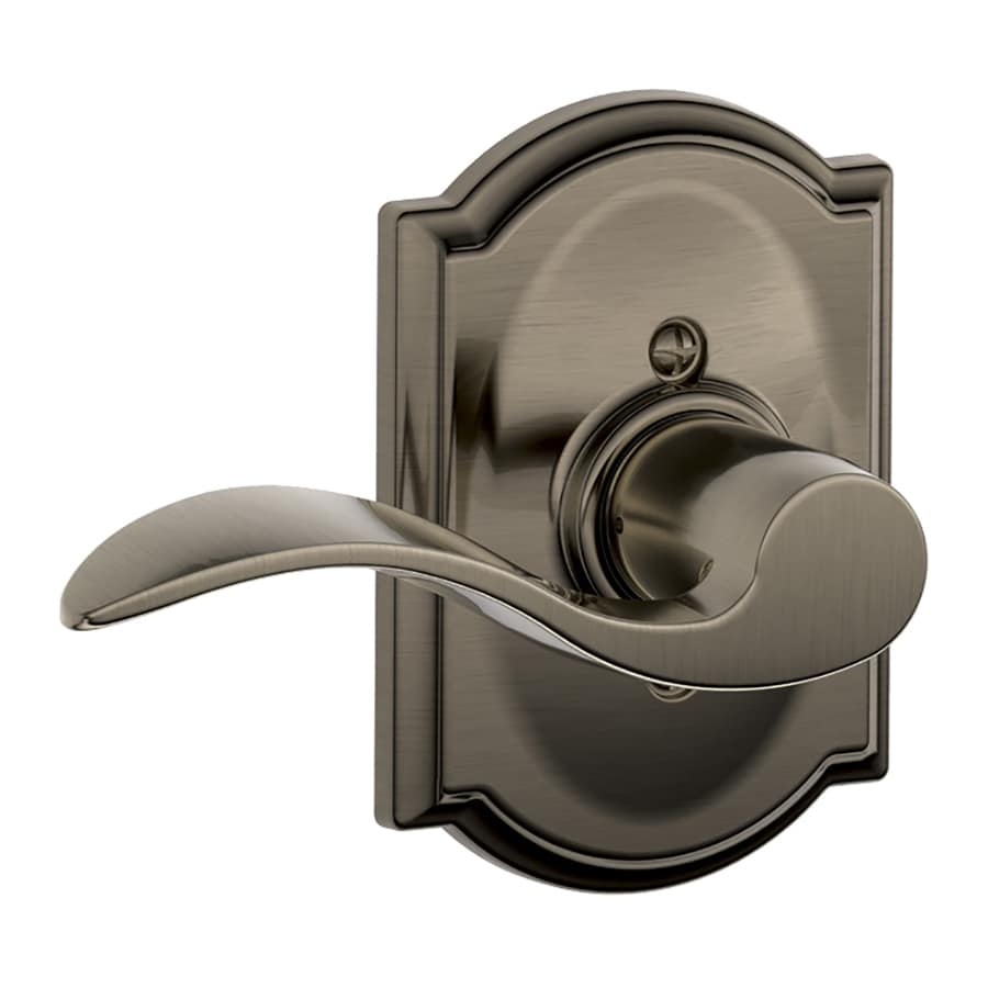 Schlage F Decorative Camelot Collections Accent Antique Pewter Left-Handed Dummy Door Lever