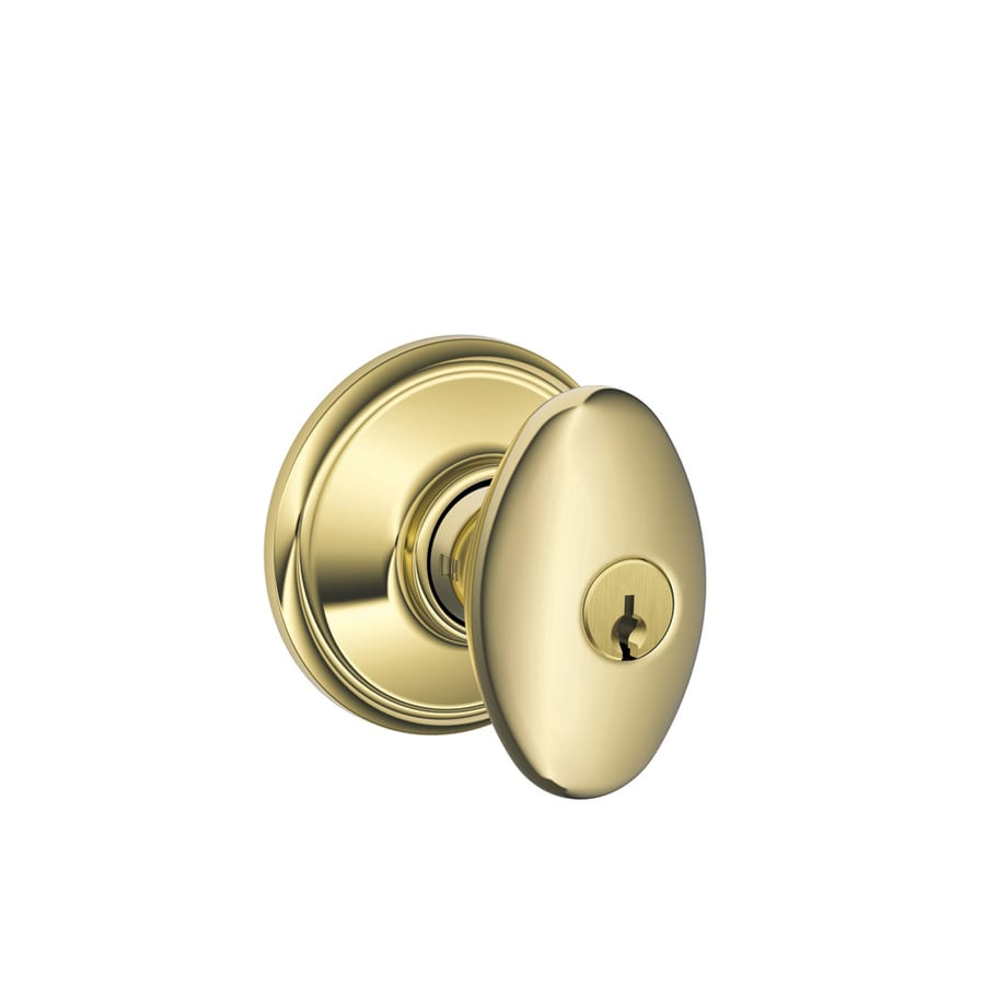 Schlage F Siena Bright Brass Egg Keyed Entry Door Knob