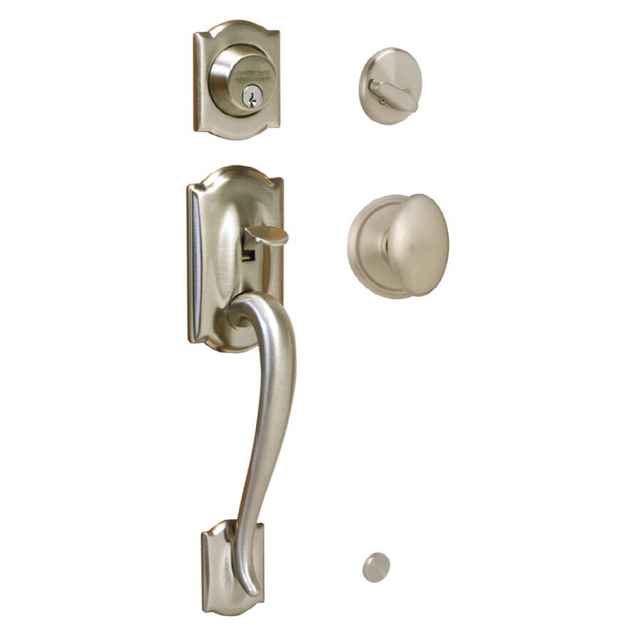 Schlage Camelot Satin Nickel Single-Lock Keyed Entry Door Handleset