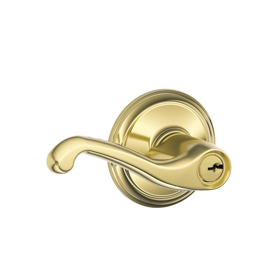 Schlage F Flair Traditional Lifetime Bright Brass Universal Keyed Entry Door Lever