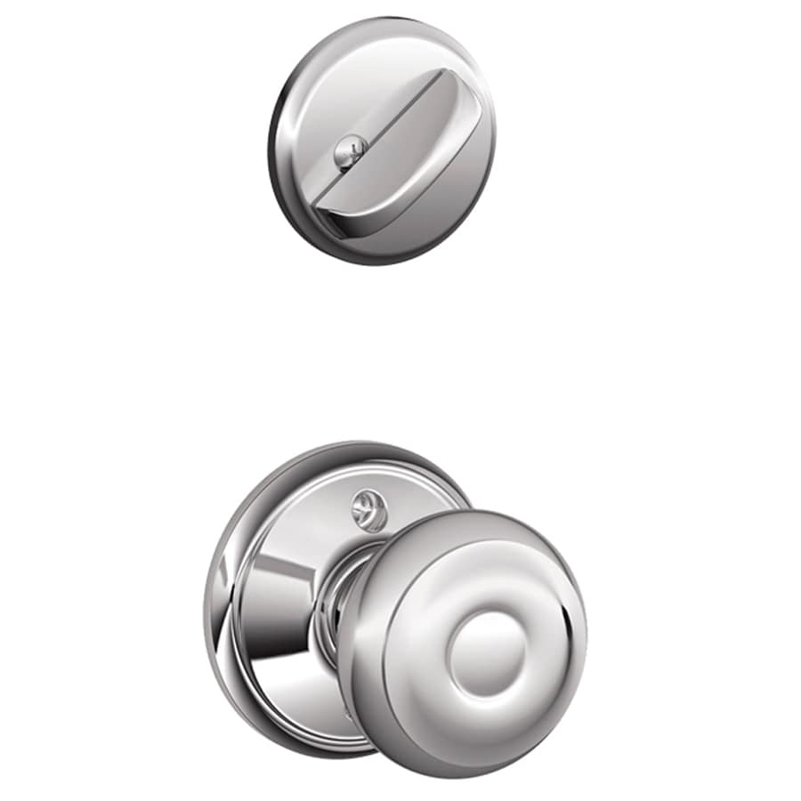 Schlage Georgian 1-5/8-in to 1-3/4-in Bright Chrome Single Cylinder Knob Entry Door Interior Handle