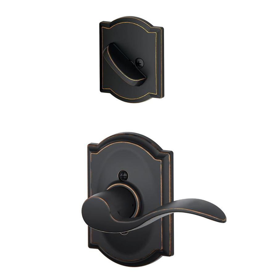 Schlage Accent x Camelot Rose 1-5/8-in to 1-3/4-in Aged Bronze Non-Keyed Lever Entry Door Interior Handle