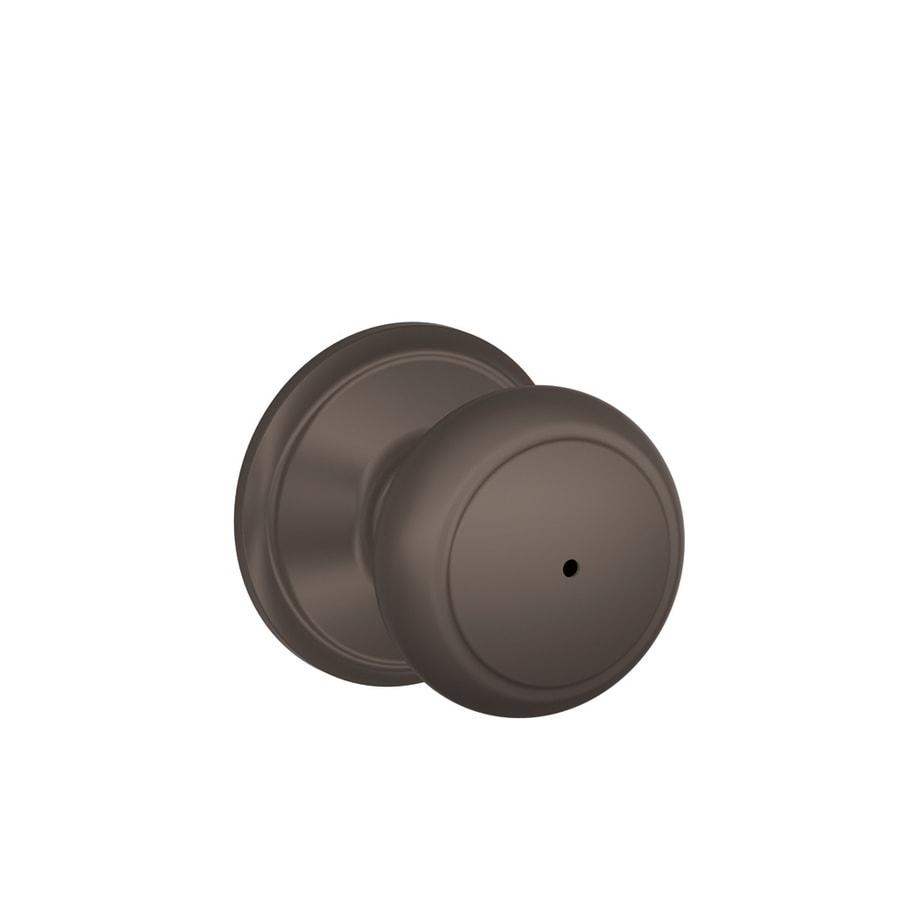 Schlage F Andover Oil-Rubbed Bronze Round Push Button-Lock Privacy Door Knob