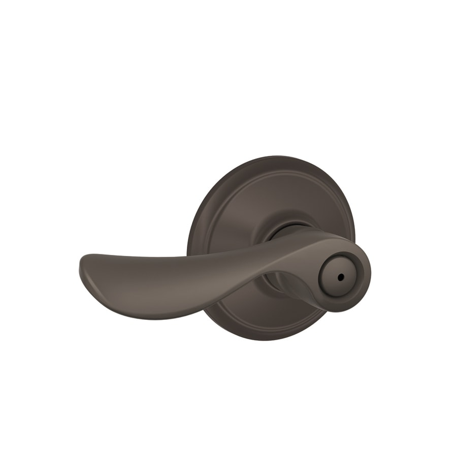 Schlage F Champagne Oil-Rubbed BronzePush-Button Lock Privacy Door Lever