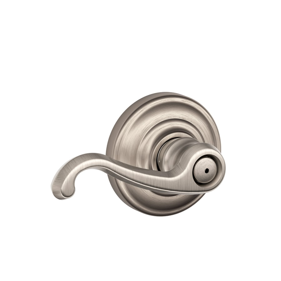 Schlage F Callington Satin Nickel Push-Button Lock Privacy Door Lever