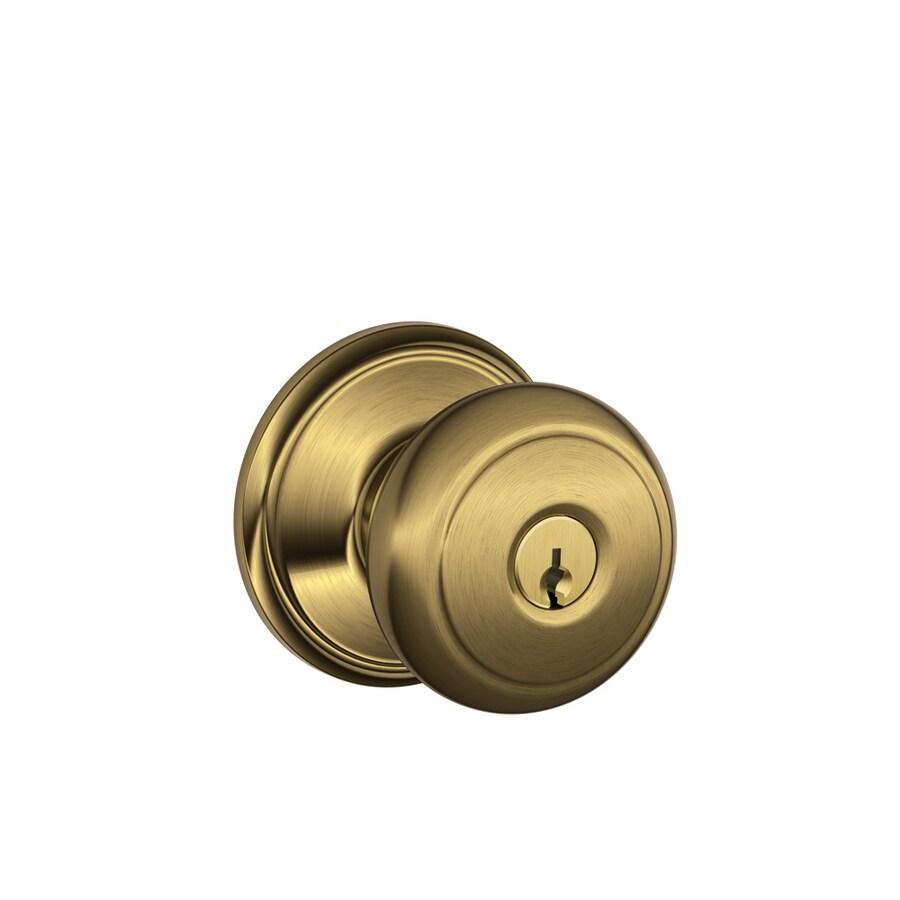 Schlage F Andover Antique Brass Round Keyed Entry Door Knob