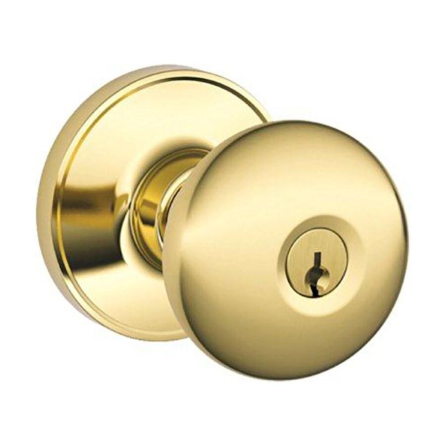 Schlage J Stratus Bright Brass Round Keyed Entry Door Knob