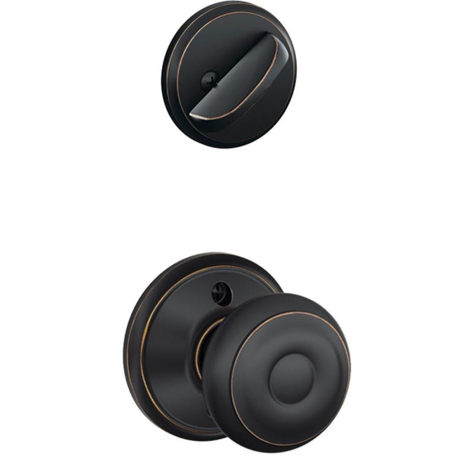 Schlage Georgian 1-5/8-in to 1-3/4-in Aged Bronze Single Cylinder Knob Entry Door Interior Handle