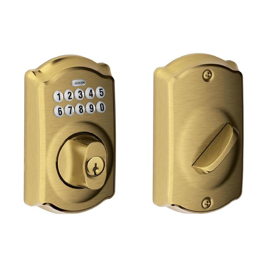Schlage Camelot Antique Brass Single-Cylinder Electronic Entry Door Deadbolt with Keypad