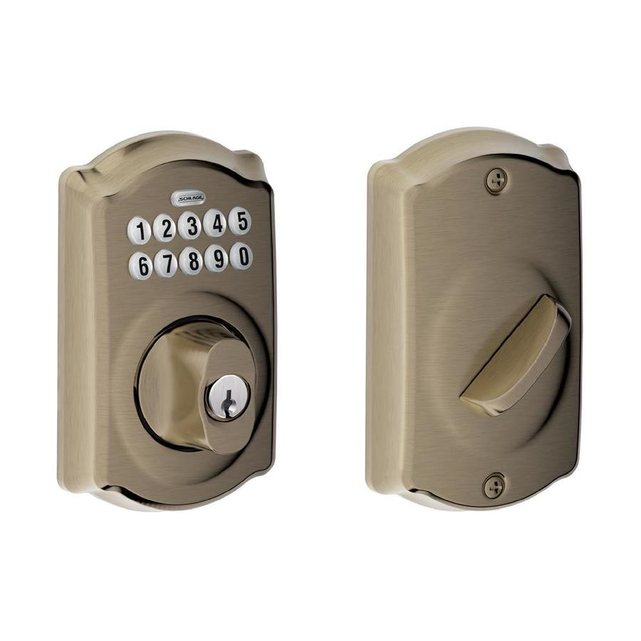 Schlage Camelot Antique Pewter Single-Cylinder Electronic Entry Door Deadbolt with Keypad