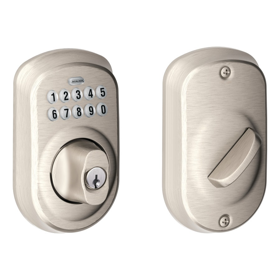shop schlage plymouth satin nickel single cylinder electronic entry door deadbolt with keypad at. Black Bedroom Furniture Sets. Home Design Ideas