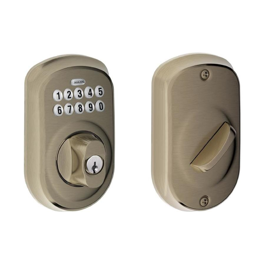 Shop Schlage Plymouth Antique Pewter Single Cylinder Electronic Entry Door Deadbolt With Keypad