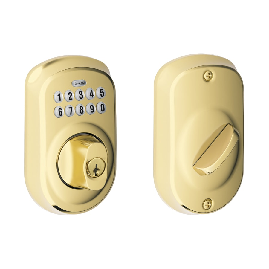 Schlage Plymouth Bright Brass Single-Cylinder Electronic Entry Door Deadbolt with Keypad