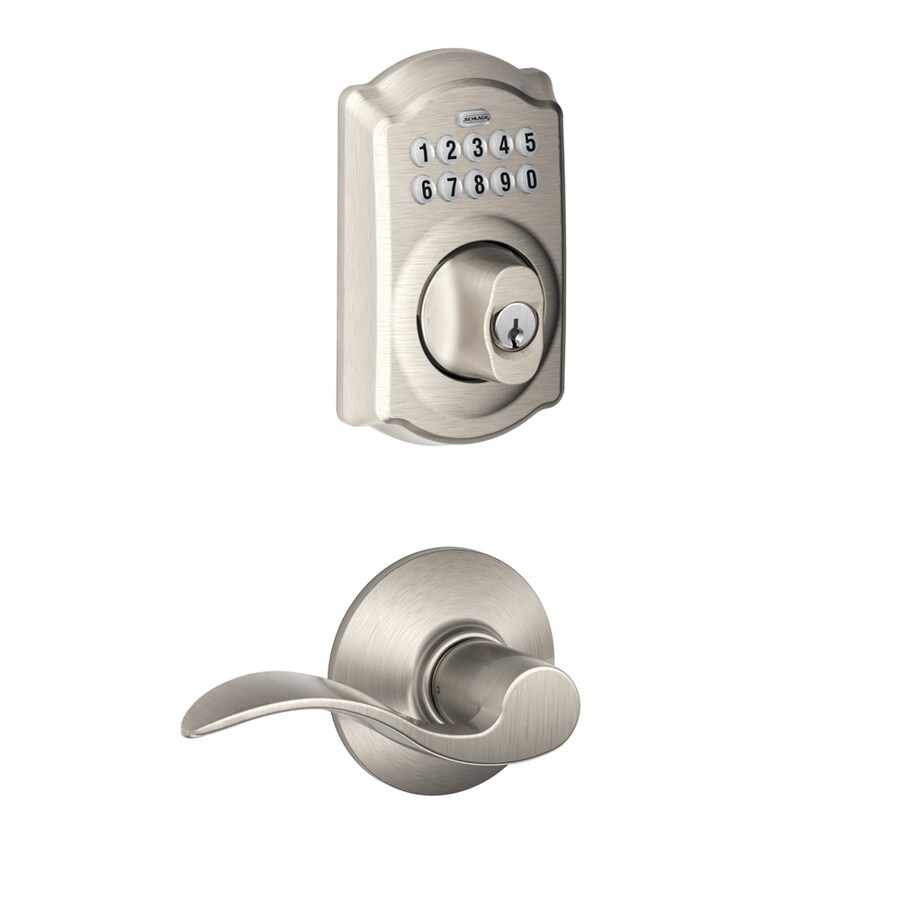 Schlage Camelot Satin Nickel Single-Cylinder Electronic Entry Door Deadbolt with Keypad