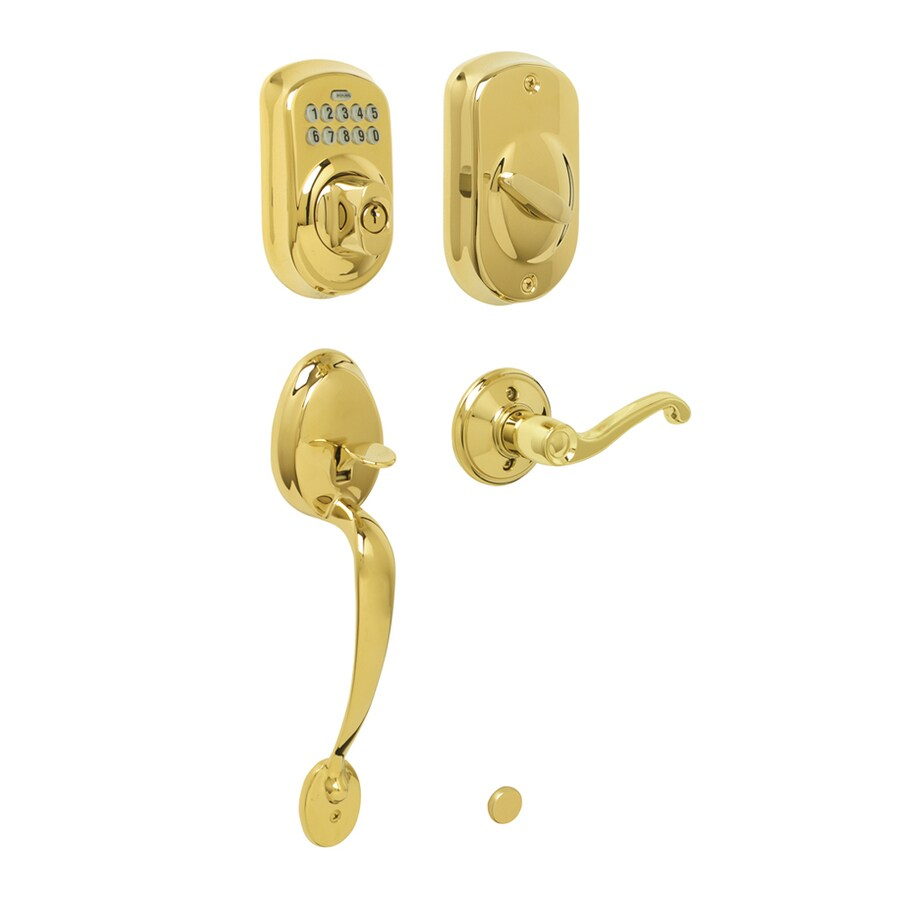 Schlage Plymouth Bright Brass 1-Cylinder Electronic Entry Door Handleset