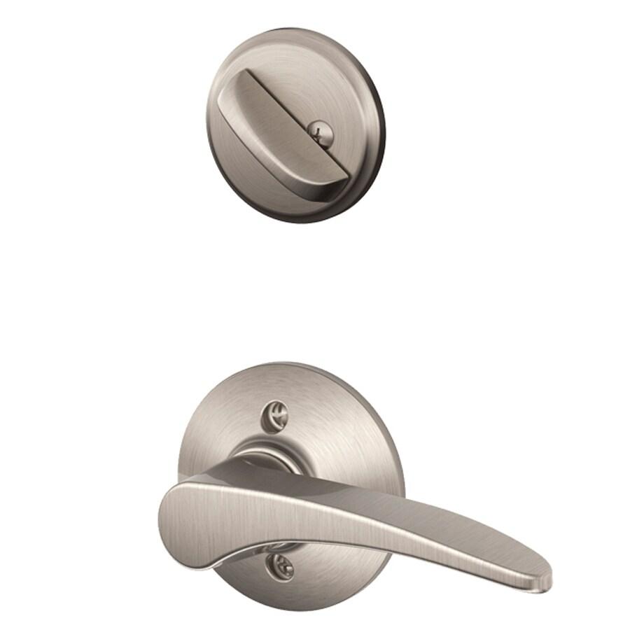 Schlage Manhattan 1-5/8-in to 1-3/4-in Satin Nickel Single Cylinder Lever Entry Door Interior Handle