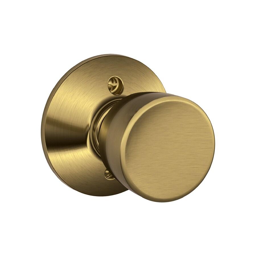 Shop Schlage F Bell Antique Brass Dummy Door Knob At Lowes Com