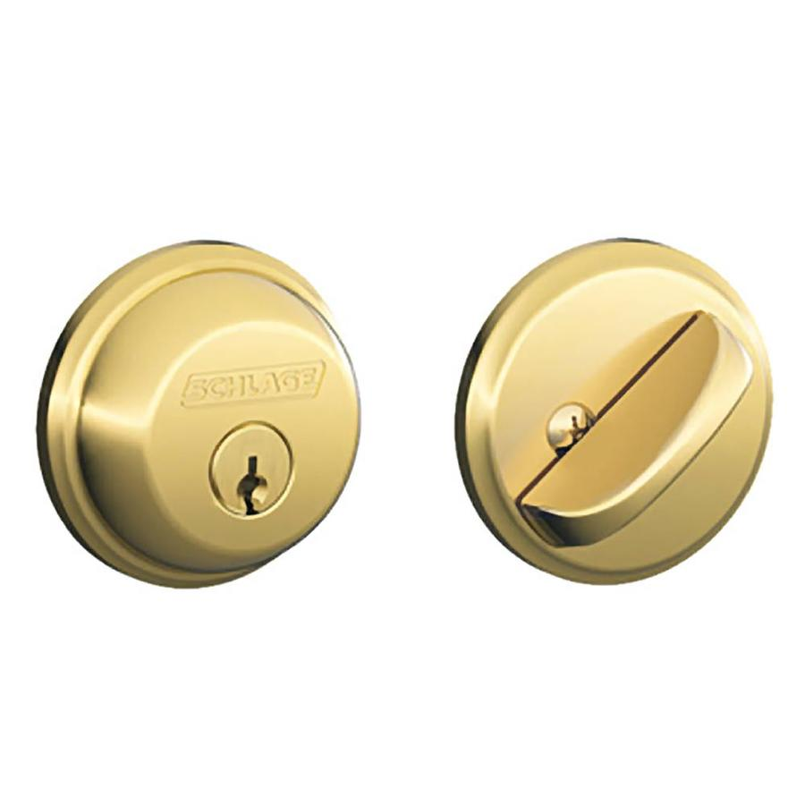 Schlage B Bright Brass Single-Cylinder Deadbolt