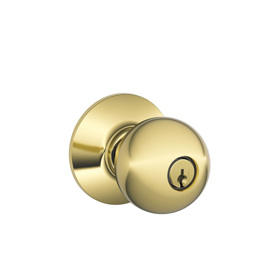 Shop schlage f orbit bright brass round keyed entry door for Exterior door knobs