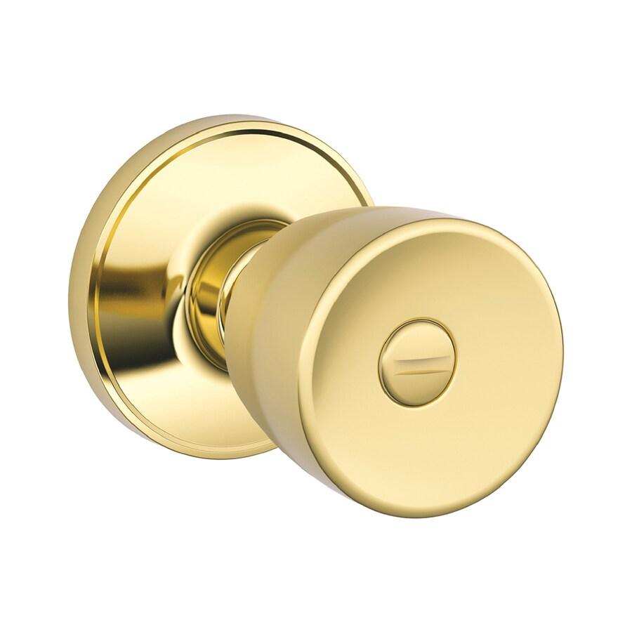 Schlage J Byron Bright Brass Tulip Turn-Lock Privacy Door Knob