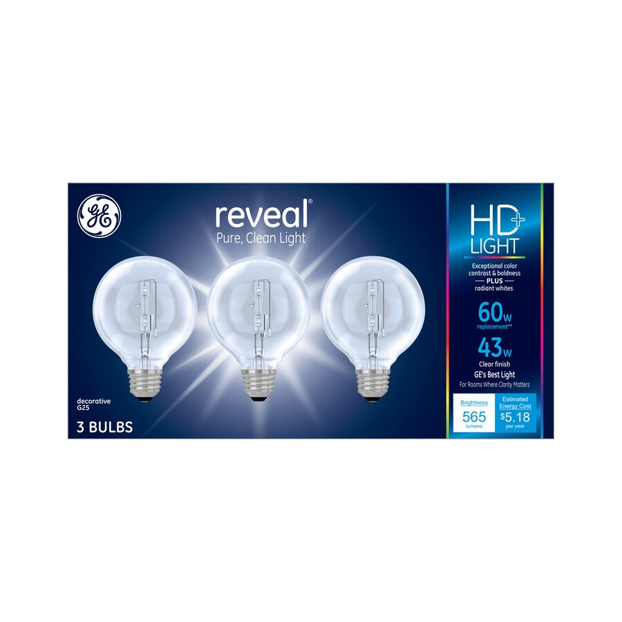 GE 3-Pack 43-Watt Medium Base (E-26) Color-Enhancing Dimmable Decorative Incandescent Light Bulbs
