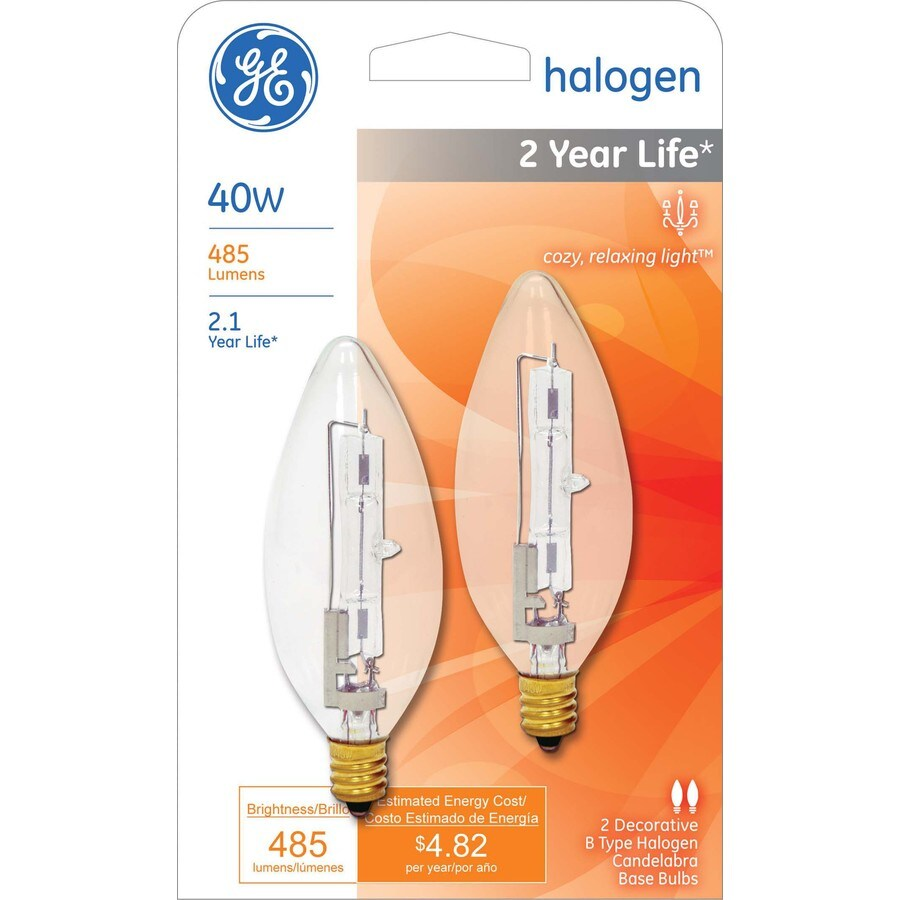 Shop ge 2 pack 40 watt candelabra base e 12 bright white for Where to buy halogen bulbs