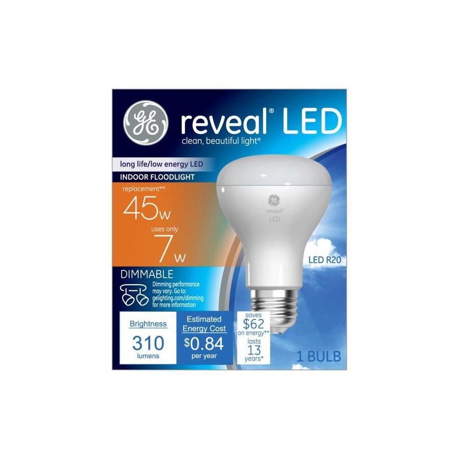 GE Reveal 7-Watt (45W Equivalent) 2800K R20 Medium Base (E-26) Color-Enhancing Dimmable Indoor LED Flood Light Bulb