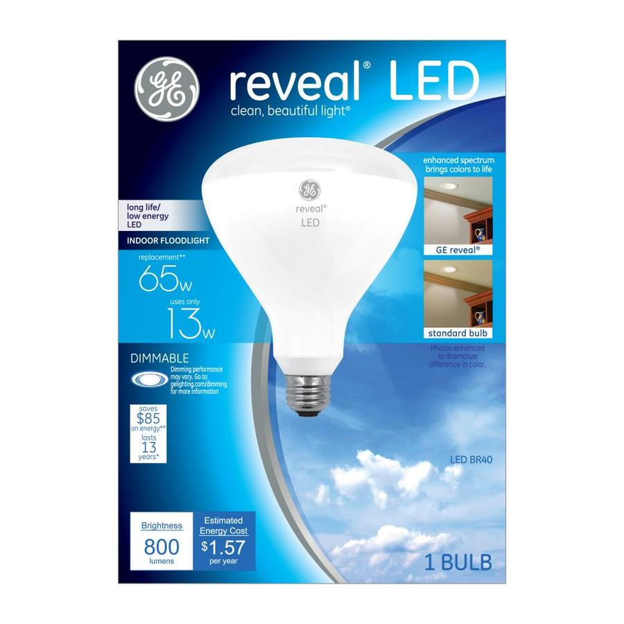 GE Reveal 13-Watt (65W Equivalent) 2800K BR40 Medium Base (E-26) Color-Enhancing Dimmable Indoor LED Flood Light Bulb