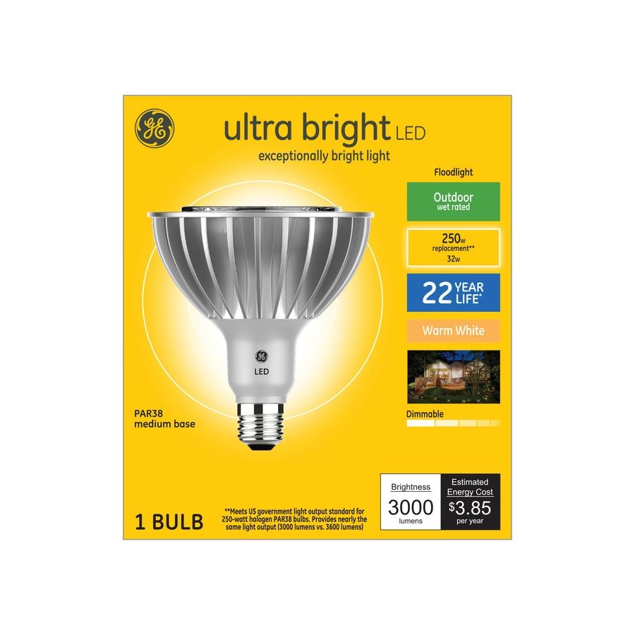 Ge Ultra Bright 250 Watt Eq Led Par38 Warm White Dimmable Flood Light Light Bulb In The Spot Flood Led Light Bulbs Department At Lowes Com