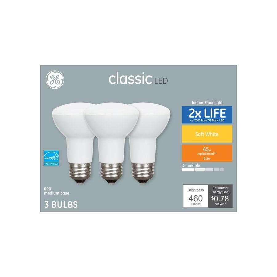 GE Classic 45-Watt EQ LED R20 Warm White Dimmable Flood Light Bulb 3-Pack