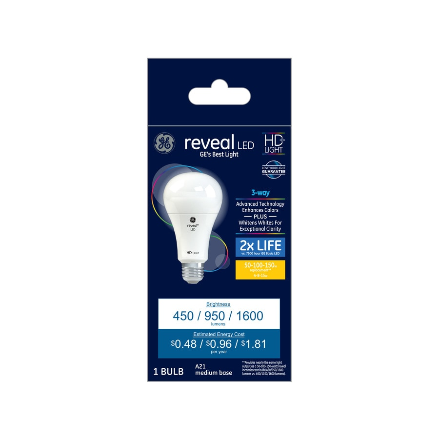 GE Basic LED Daylight A21 3-Way Bulb 50-100-150W