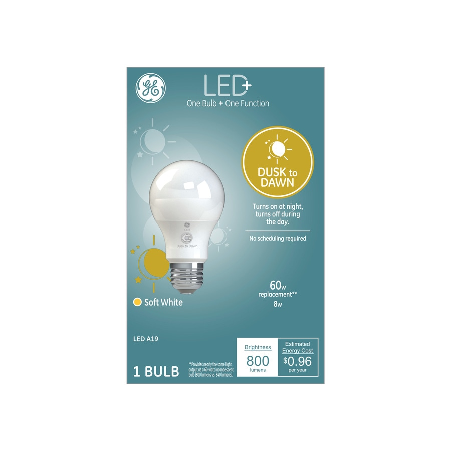 Ge Led Dusk To Dawn 60 Watt Eq A19 Soft White Led Light Bulb In The General Purpose Led Light Bulbs Department At Lowes Com